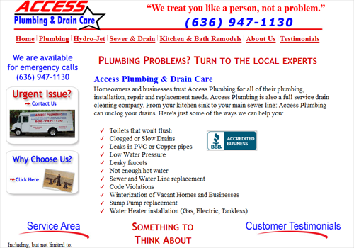 Access Plumbing and Draincare website