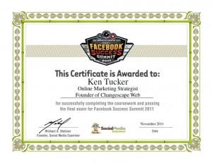 Facebook Success Summit 2011 Certificate