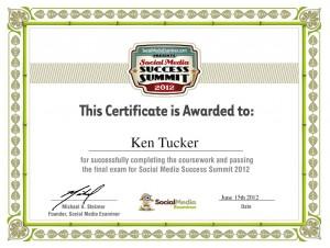 Social Media Success Summit 2012 Certificate