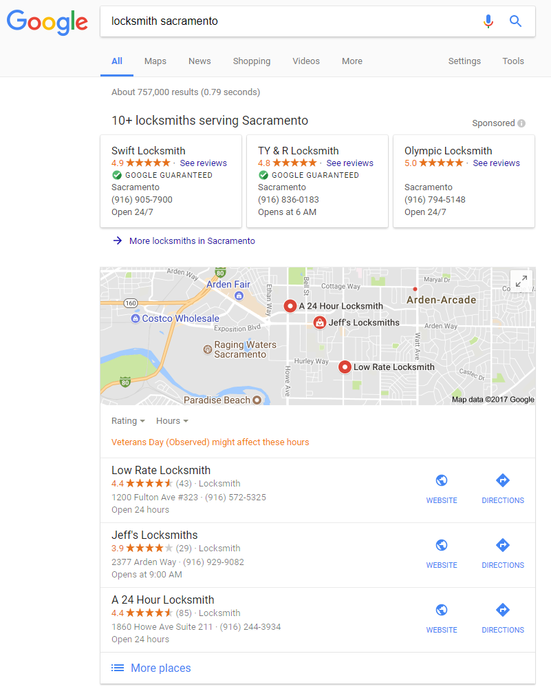 Google Local Service ads and Google Maps at the top of local search results